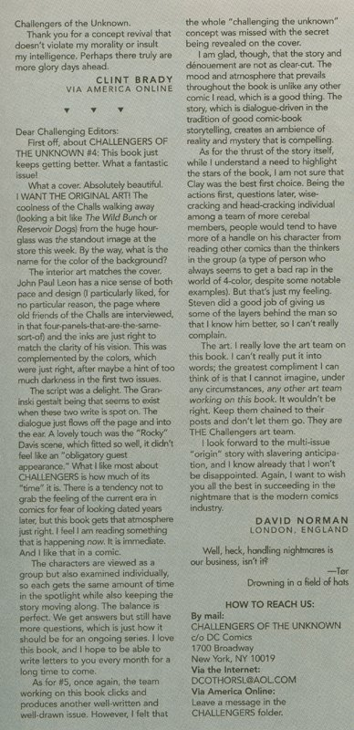 My letter printed in The Challengers of the Unknown #9
