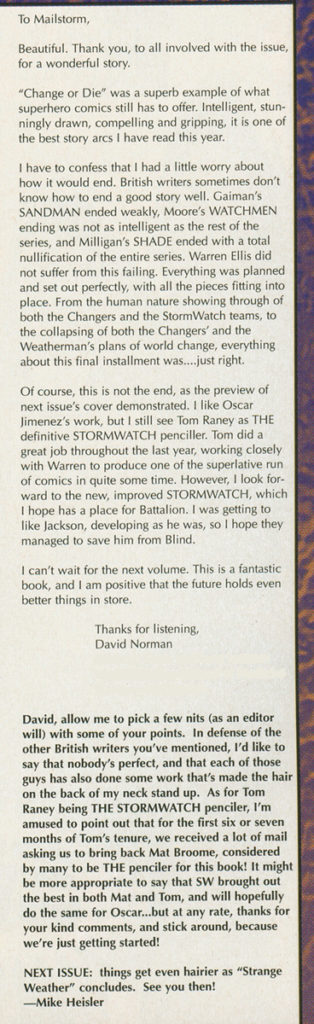 My letter printed in Stormwatch vol.2 #2