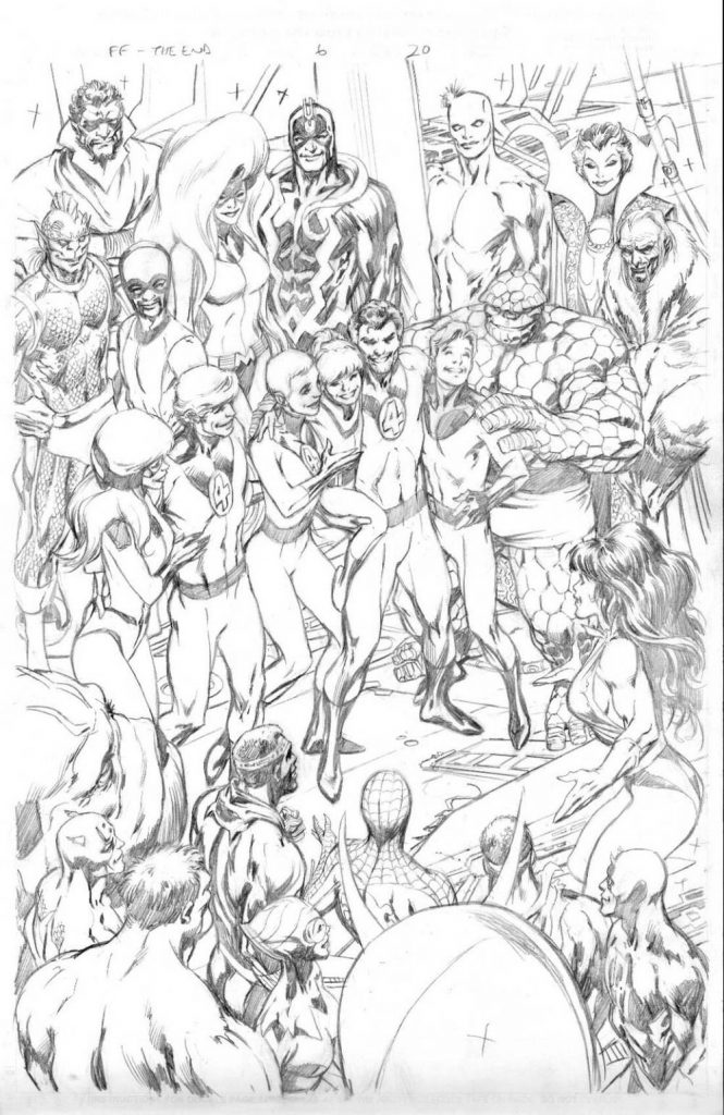 Interior page of pencils from Fantastic Four: The End #6