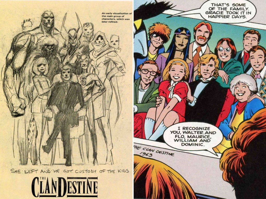 Early sketch of the ClanDestine and a family photo from the comic book