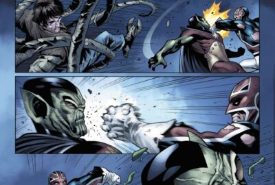 Captain Britain punches the head off a Skrull