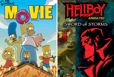 The Simpsons and Hellboy: Sword of Storms film posters