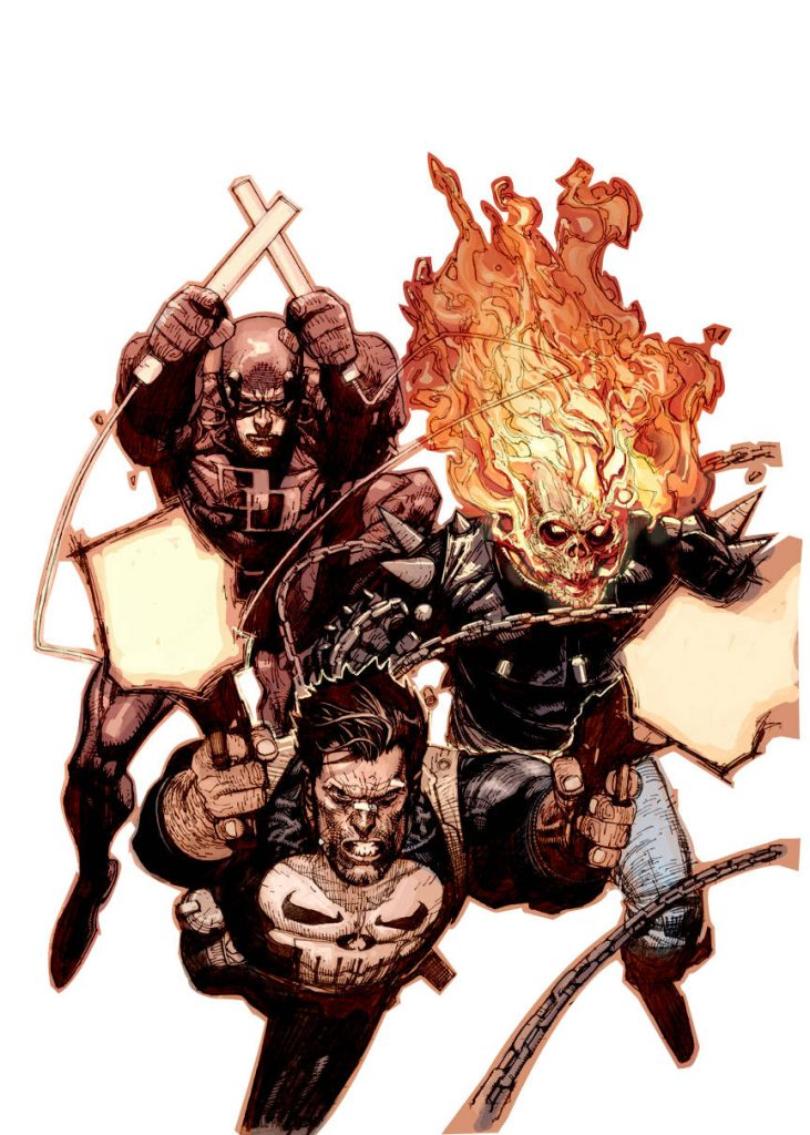 Punisher, Daredevil and Ghost Rider
