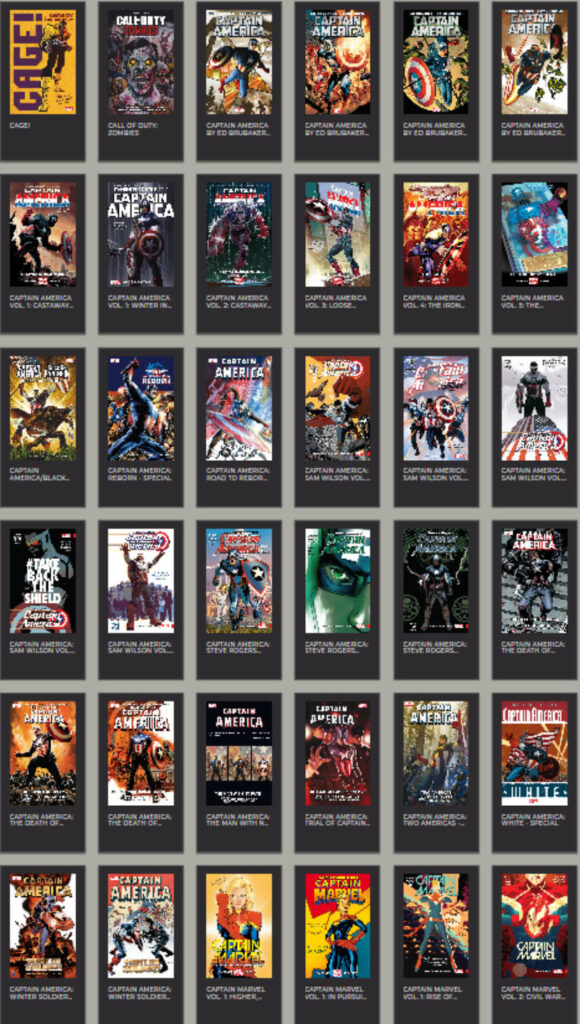 Screenshot of RBdigital Library page with multiple Captain America books