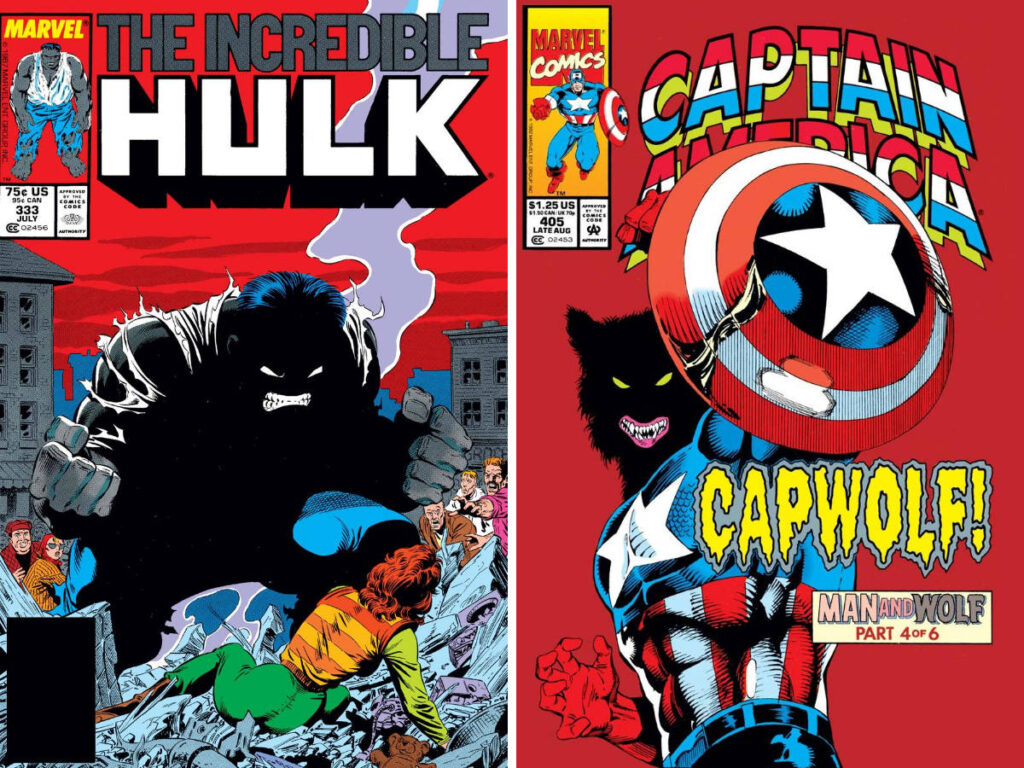 The Incredible Hulk #333 by Steve Geiger and Captain America #405 by Rik Levens