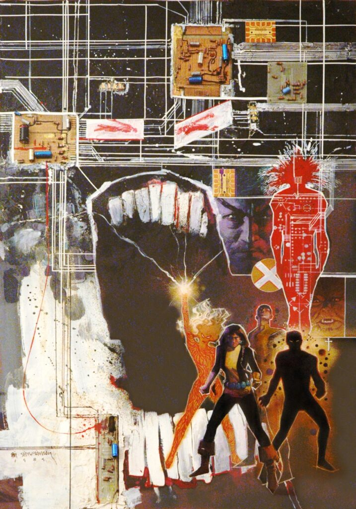 New Mutants promotional poster from 1984 by Bill Sienkiewicz