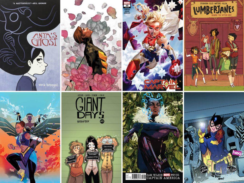 Covers of comic books created by female comic book creators