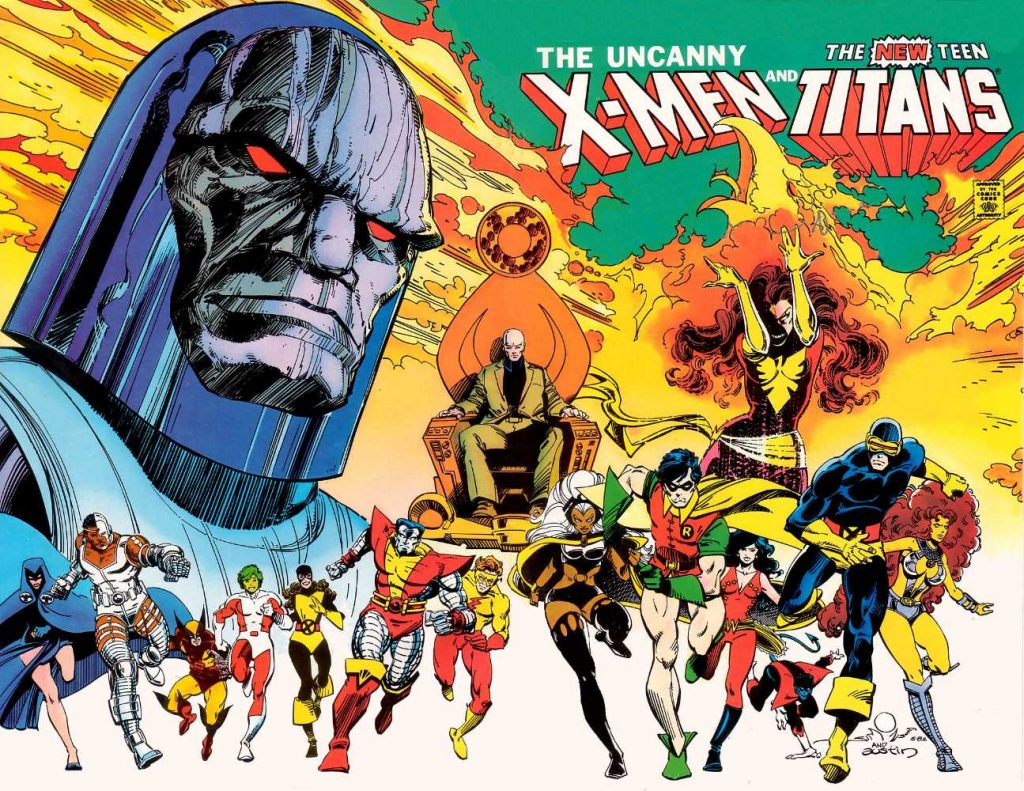 The Uncanny X-Men and The New Teen Titans cover by Walt Simonson