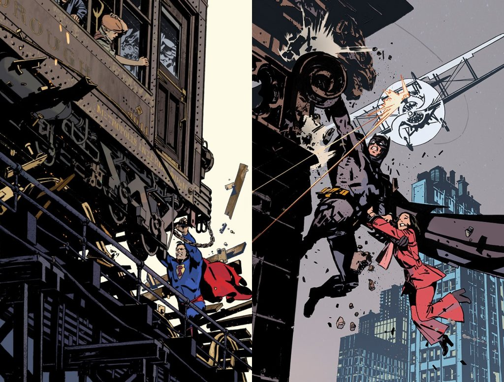 Covers for Superman and Batman comic books by John Paul Leon