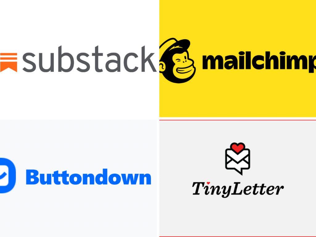 Logos for newsletters (Substack, MailChimp, Buttondown, Tiny Letter)